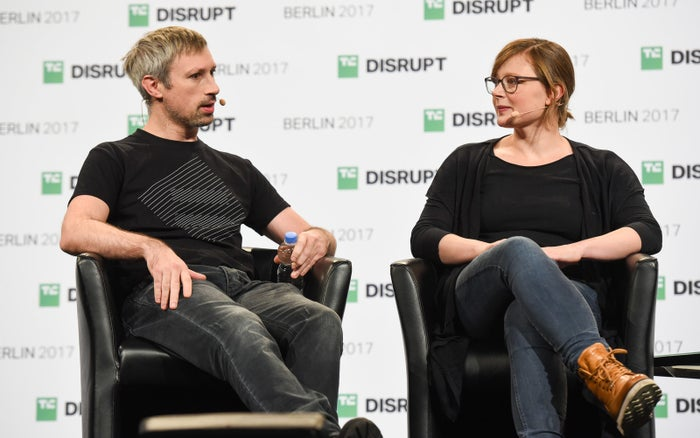 Parity founders Gavin Wood (left) and Jutta Steiner speak at a Berlin technology conference in December 2017.