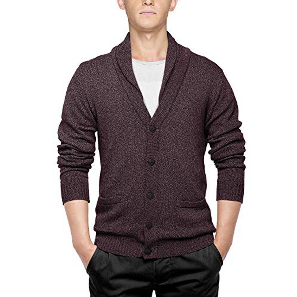 model wearing burgundy sweater cardigan with shawl-like collar