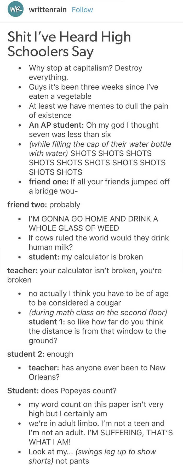 21 Hilarious Tumblr Posts To Read When You're Bored In Class