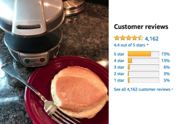 """""""I'm gadget-crazy and bought this on a whim, and I'm pretty impressed. I used Pam spray, English muffins, ham, cheese, and an egg. I heated it up a little past the recommended time, set a timer for five minutes, used tongs to lift up the compartments and whaddya know! A perfect, cute little sandwich! I pulled it out with a plastic spatula and set it on a tiny cookie rack to cool so the bottom wouldn't get soggy. Nothing leaked, nothing stuck. Very compact and tidy. Let the contraption cool, then rinse and wipe."""" —Amazoniac"""