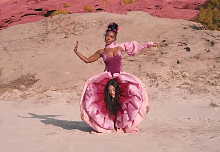 "Monáe and Tessa Thompson in the video for ""Pynk."""
