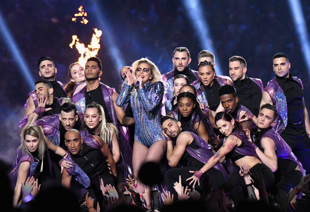 Lady Gaga performs during the Pepsi Zero Sugar Super Bowl LI Halftime Show in 2017.
