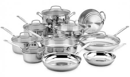 Set includes three sauce pans, three skillets, one sauté pan, one steamer, one pasta insert, one stock pot, and seven lids. Price: $205.39 ($464.61 off the list price)