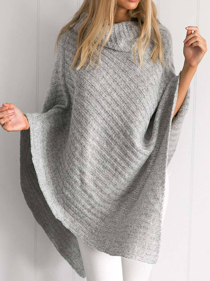 A knitted turtleneck poncho easily belted or worn loose for a totally  stylish and comfy fall ensemble. 2b0cc281a
