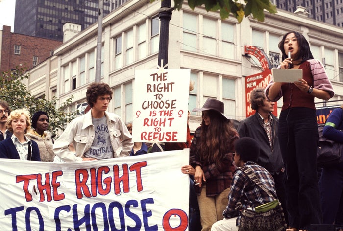 A woman speaks at a reproductive rights demonstration in Pittsburgh, 1974.