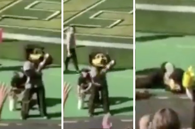 Mascot Taken Off Field After T-Shirt Cannon Unfortunately Goes Off In The Wrong Direction