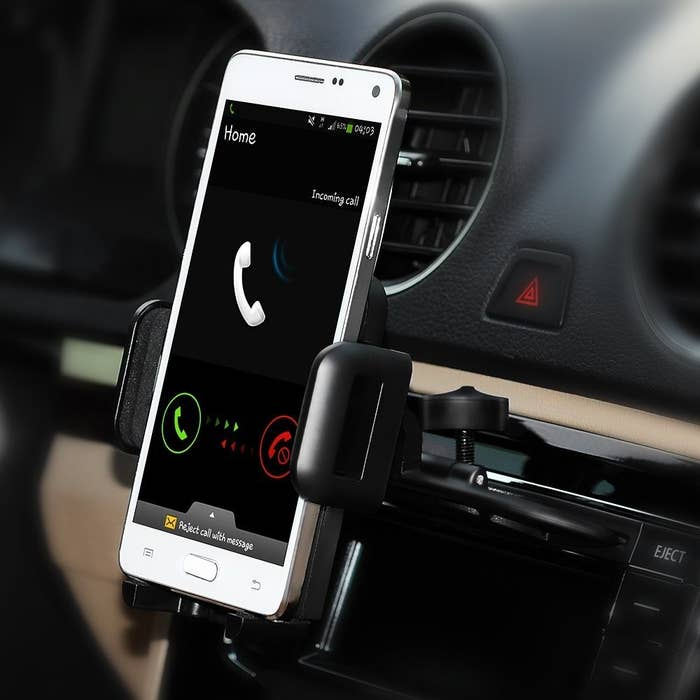 "All you have to do is insert the cradle into the CD slot of your car and watch it stay firmly mounted in. Then put your phone in, squeeze the sides, and it'll stay firmly put. To take your phone out, press the button on the side to release, and your phone will pop out. Plus, this holder revolves 360 degrees so you can adjust it to the angle that best suits your needs.Promising review: ""I've been seriously looking for a car phone carrier/holder for a long time, like we all do. So I had purchased a holder almost like this one, but it fell apart all the time and didn't hold the phone, so I went to Amazon in search for another and I found this one and crossed my fingers. Well I got it and it didn't look like much so I laid it aside thinking here's another one that's not going to work, so I kept dealing with the old one until until I got fed up and installed this one and it worked! I was amazed, and it's been working since I installed it, it's a great product, and I recommend this item to everyone in search of a phone holder like this."" —scooter oPrice: $9.99+ (available in three colors)"
