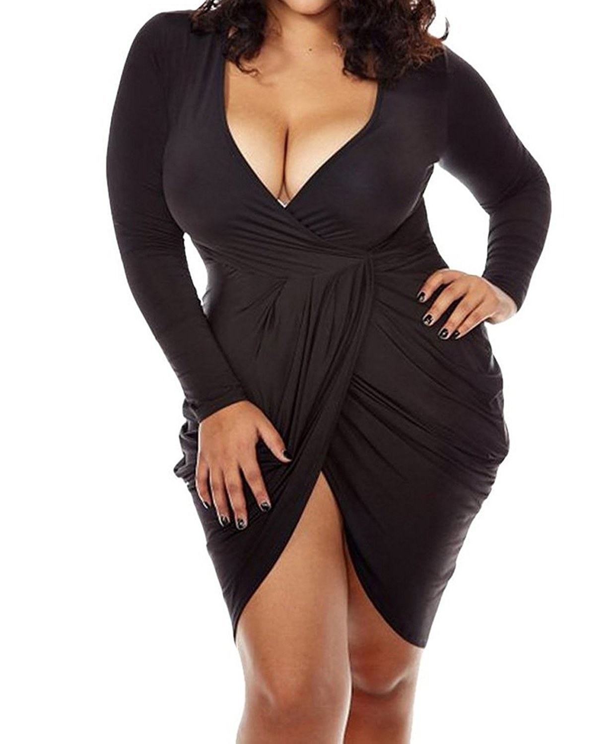 China womens deep v neck bodycon dress ruched long sleeve cross wrap sexy plus size clubwear