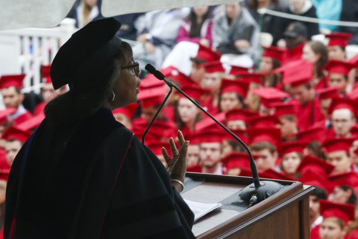 Law professor Anita Hill speaks at the commencement ceremony at Wesleyan University in May 2018.