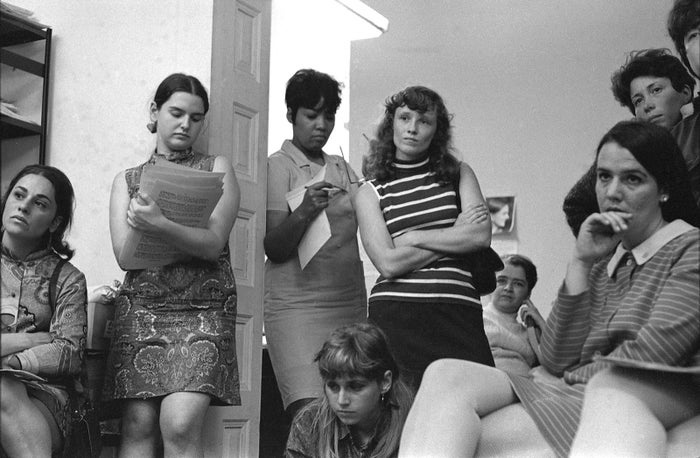 At the Southern Conference Educational Fund office in New York City, members of the New York Radical Women group attend a meeting to plan a protest at the Miss America beauty pageant, 1968.