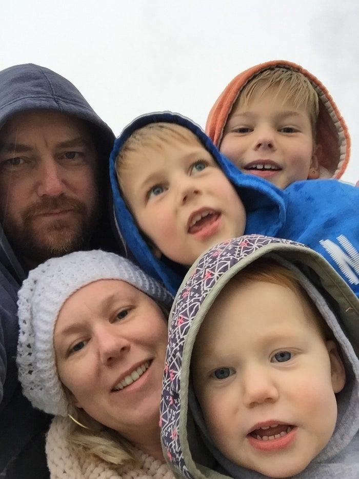Scott and Kylie Richardson with their three children.