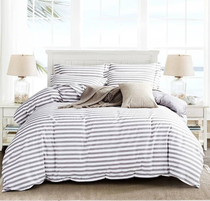 A Striped Microfiber Duvet Set It Ll Look Way More Expensive Than Is