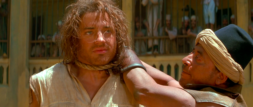 """Brendan Fraser was almost hanged for real while filming The Mummy (1999) -  Turns out a fake hanging isn't quite as ~safe~ as it sounds. """"They killed me for 18 seconds. I was hanging from the noose standing on a board,""""  Fraser  said."""