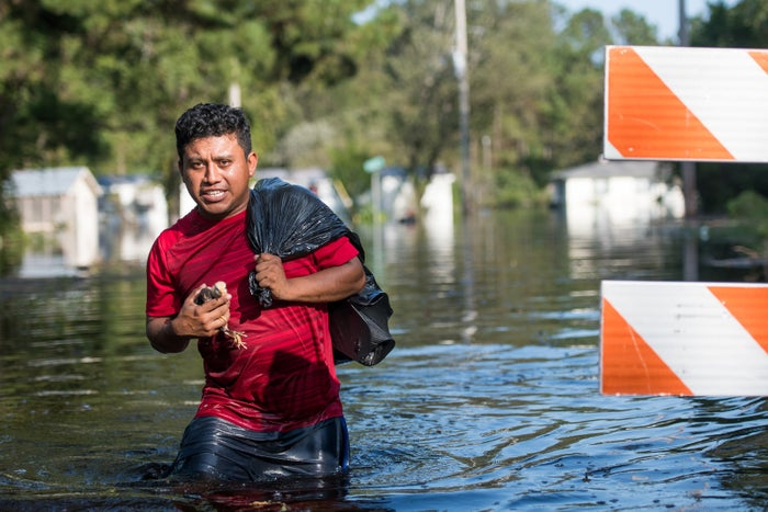 Luis Gomez rescues baby chicks from floodwaters