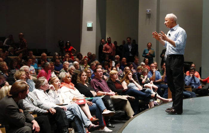 Coffman at a town hall meeting on the campus of the University of Colorado Medical School, April 12, 2017, in Aurora.