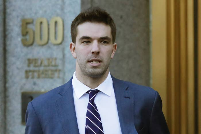 Billy McFarland, the promoter of the failed Fyre Festival, leaves federal court after pleading guilty to wire fraud charges in New York.