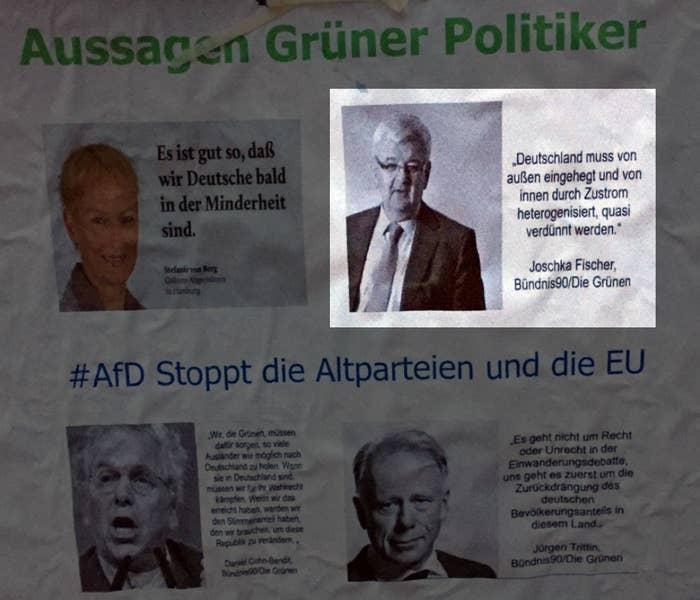 Ein Plakat Mit Afd Logo Zeigt Zitate Von Grünen Politikern