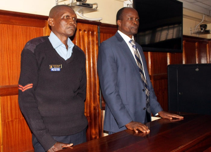 Okoth Obado (right) in the dock in court on Monday.