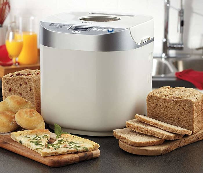"""Has a 2 lb. loaf capacity, so it's good for making bread for big families! It has 12 bread settings and three crust settings, plus an ExpressBake setting to bake bread in under an hour. Plus, there's a 13-hour programmable timer so you can make fresh bread whenever! It also has a large LCD display and intuitive button controls for ease of use.Promising review: """"I purchased this after my friend recommended it. She makes wonderful bread and rolls. So I had to ask her what the secret was. She recommended this product and I had to buy it immediately. It is such a lovely bread maker. It comes with the instructions and recipes. I followed the recipe exactly and it turned out to be amazing. My whole family loves it. I make good pizzas now, too. My guests are surprised at how good I am at making all these. I stopped purchasing bread a long time back. I would definitely recommend this."""" —NAGARAJ PITHANAGet it from Amazon for $61.72 (originally $78.07)."""