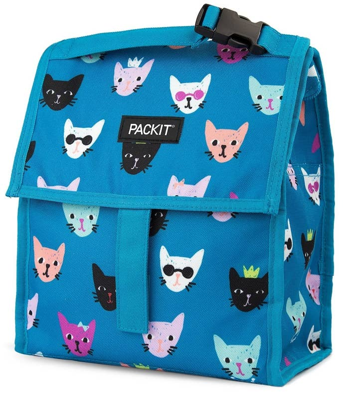"""This purrrfect lunch box has cooling gel built into the walls so all you have to do is leave it in the freezer overnight. Come the next morning, it will be nice and cold. Plus it's made from nontoxic poly canvas and is PVC-, BPA-, phthalate-, formaldehyde-, and lead-free. Promising review: """"This is our second PackIt lunch bag that we've purchased. These lunch bags freeze overnight and don't require a separate blue ice pack (which I know would end up getting lost at school). They stay icy cold the whole school day and keep my daughter's perishable lunch items safe to eat. The bag holds a lot of food as it is very roomy. It is a bit on the heavy side compared to other lunch boxes, but this is due to the freezing gel inside the bag. To clean the bag, we simply hose it down outside with soap and water, or wash it by hand in the sink. Then we hang the bag outside to dry. You can also wipe spills off the bag with a soapy cloth. So cute and effective!"""" —mysecretgirlGet it from Amazon for $11.76+ (available in 34 styles)."""