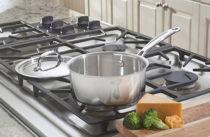 """This little pan is great at evenly distributing heat throughout, so it's good for slow simmers, rolling boils, and reduction of liquids. Plus, it has a cool grip handle so no hand ouchies when making delish sauce. It also features a rip tapered for drip-free pouring, because the sauce should go in your tummy, not the floor. Plus, it's dishwasher-safe!Promising review: """"I just received this as a gift and it is just what I was looking for. While making a caramel sauce, for example, you need a nice heavy bottom pan to evenly distribute the heat. This is just perfect! Cuisinart quality at a reasonable price."""" —Melissa N. BlakeGet it from Amazon for $17.95+ (originally $19.99, available in two colors)."""