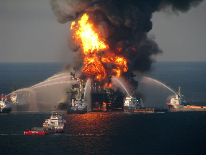 Deepwater Horizon drilling rig in the Gulf of Mexico on April 21, 2010.
