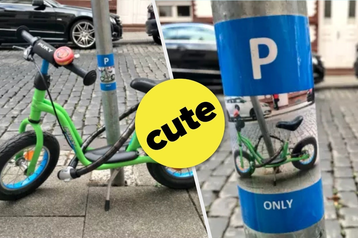 A Stranger Made A Parking Sticker For This Little Boy's Bike And It's The Cutest Thing You'll See All Day