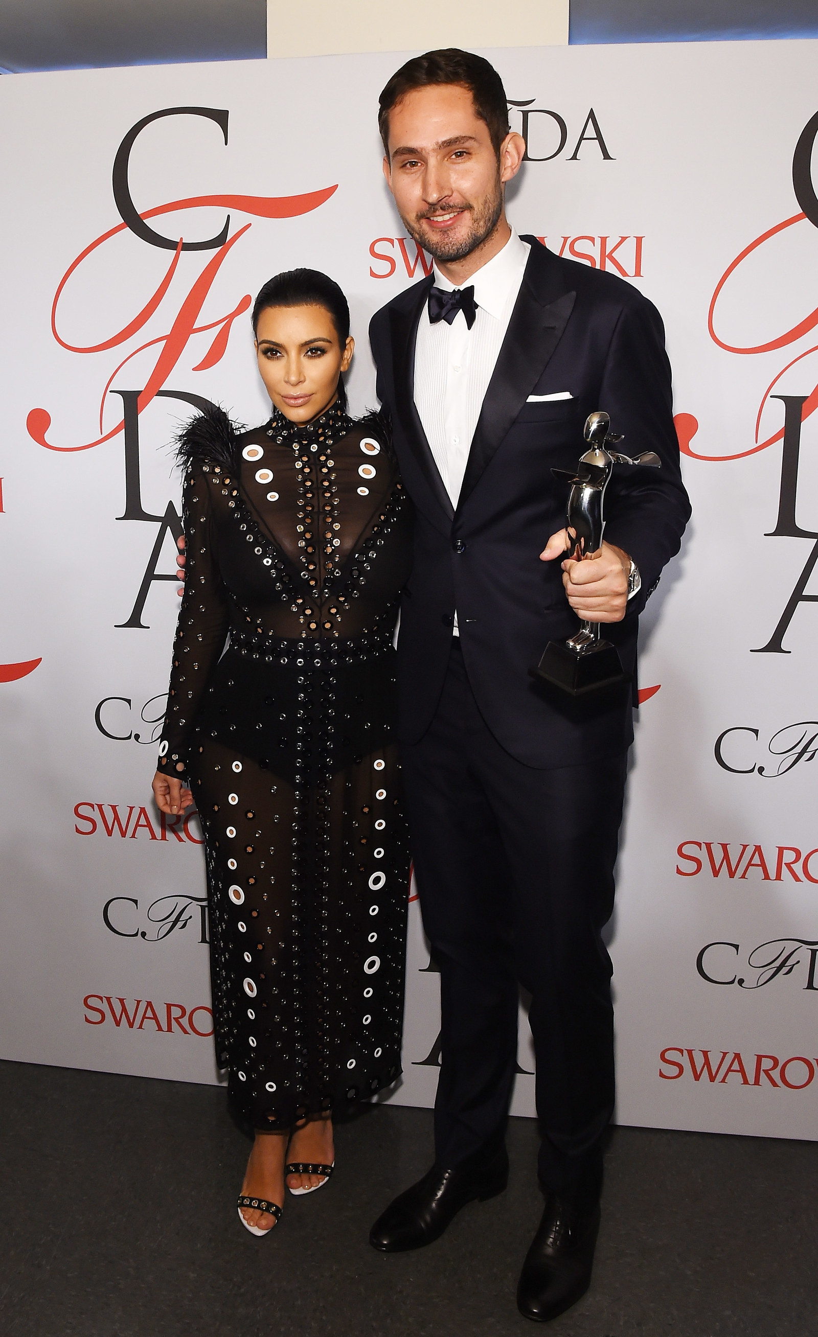 NEW YORK, NY - JUNE 01: Kim Kardashian and Kevin Systrom pose on the winners walk at the 2015 CFDA Fashion Awards at Alice Tully Hall at Lincoln Center on June 1, 2015 in New York City. (Photo by Larry Busacca/Getty Images)