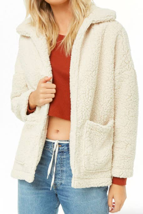 1242d42166b1 An open-front faux shearling coat perfect for all fall activities. Stepping  on crunchy leaves