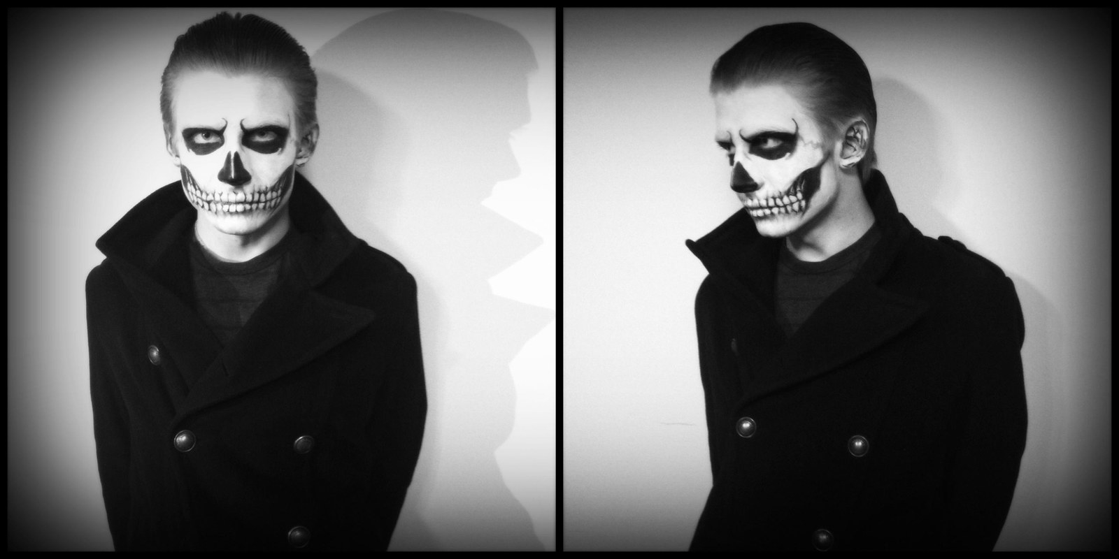 A man with slicked back hair and a trench coat with his face painted like a skeleton.