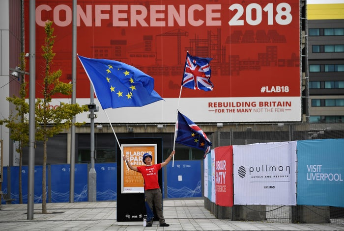 An anti-Brexit protester at Labour conference