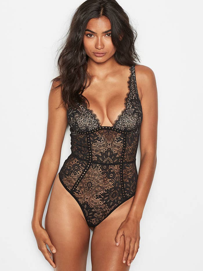 582f7f647e6 An embellished lace plunge teddy so you can stunt and shine whenever you  feel like taking thirst pictures for whoever is worthy.