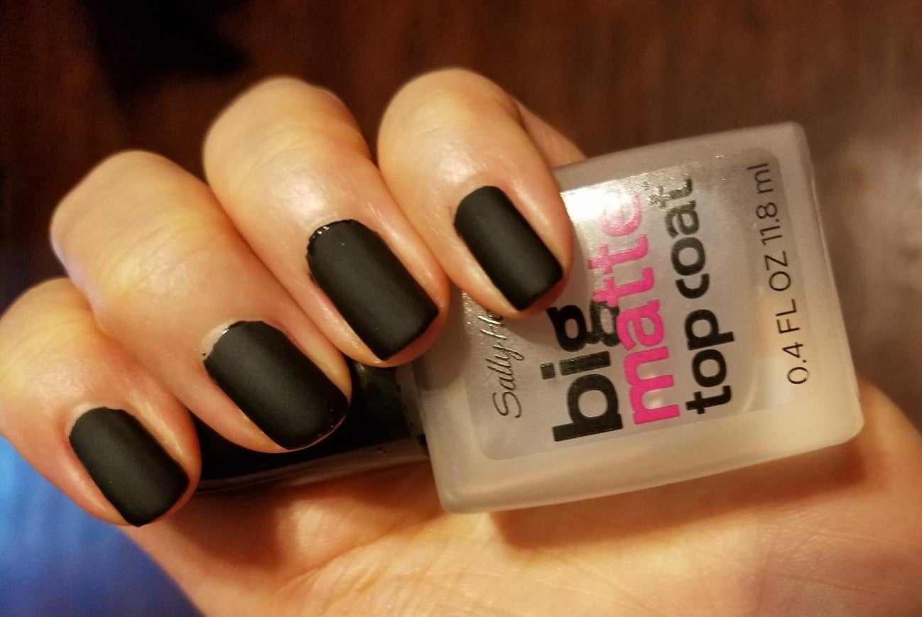 """Promising review: """"I purchased this to avoid buying expensive matte nail polish since I already own a ton of different nail colors. I have used it a few times, and it works so well! Turns any very shiny polish into a gorgeous matte color! The brush applicator is very easy to use, and it's not thick, clumpy, or bubbly. Very happy with this purchase."""" —Angela DenneyGet it from Amazon for $3.59."""