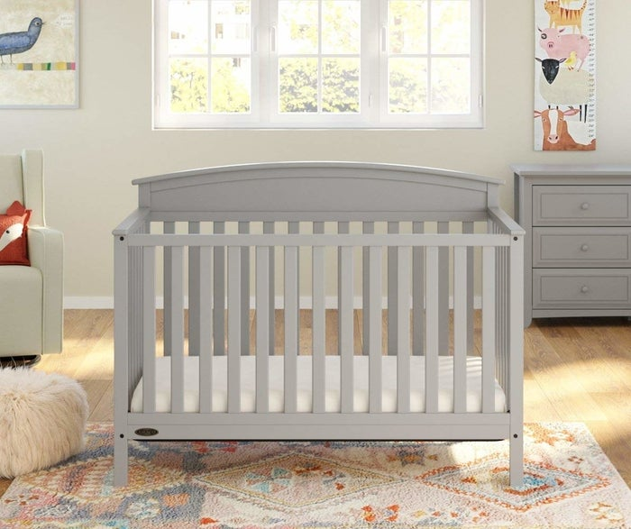 """The full-sized bed frame and mattress are not included. It has a one-year limited manufacturer's warranty. Promising review: """"I love this crib! I did a ton of research on different ones, and I'm so happy I went with this one. It's cute and made very well. I'm only 5'2"""" and was worried I would have a hard time putting my daughter down, but I've had zero issues. My daughter has been sleeping in our room, but in her crib she loves her own bed and own room. I would highly recommend it to anyone who wants an affordable convertible crib. I will definitely buy another one for my next baby."""" —Amazon CustomerPrice: $139.99+ (available in five colors)"""