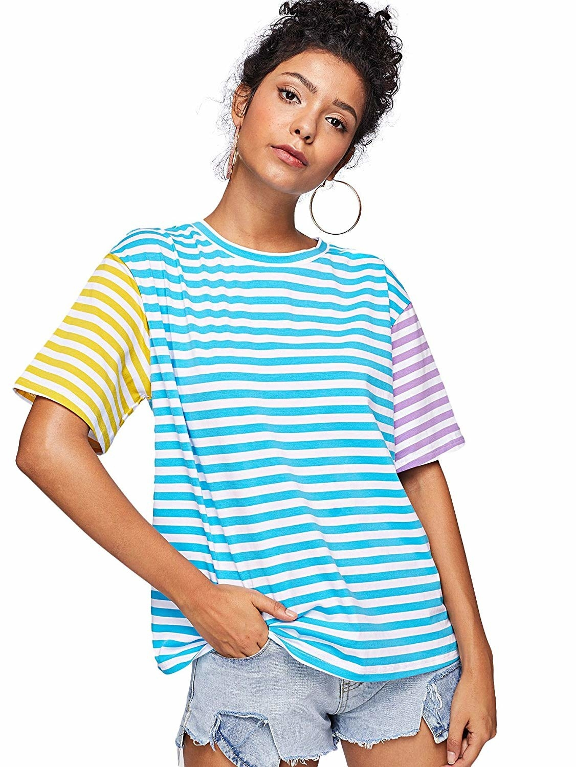 366f2e9322 A striped crewneck tee to cure anyone's writer's block with a solid color  block.