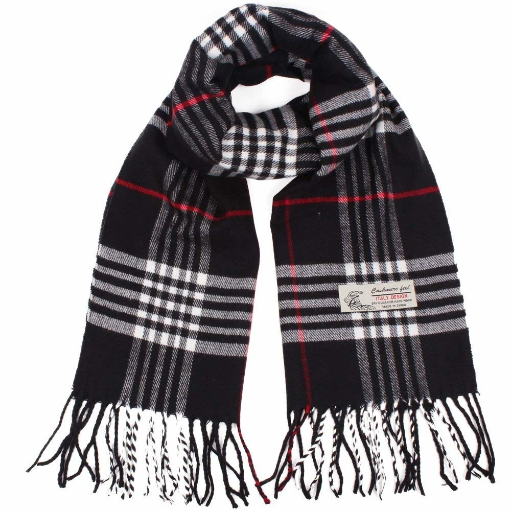 The plaid scarf in black with red and white accents