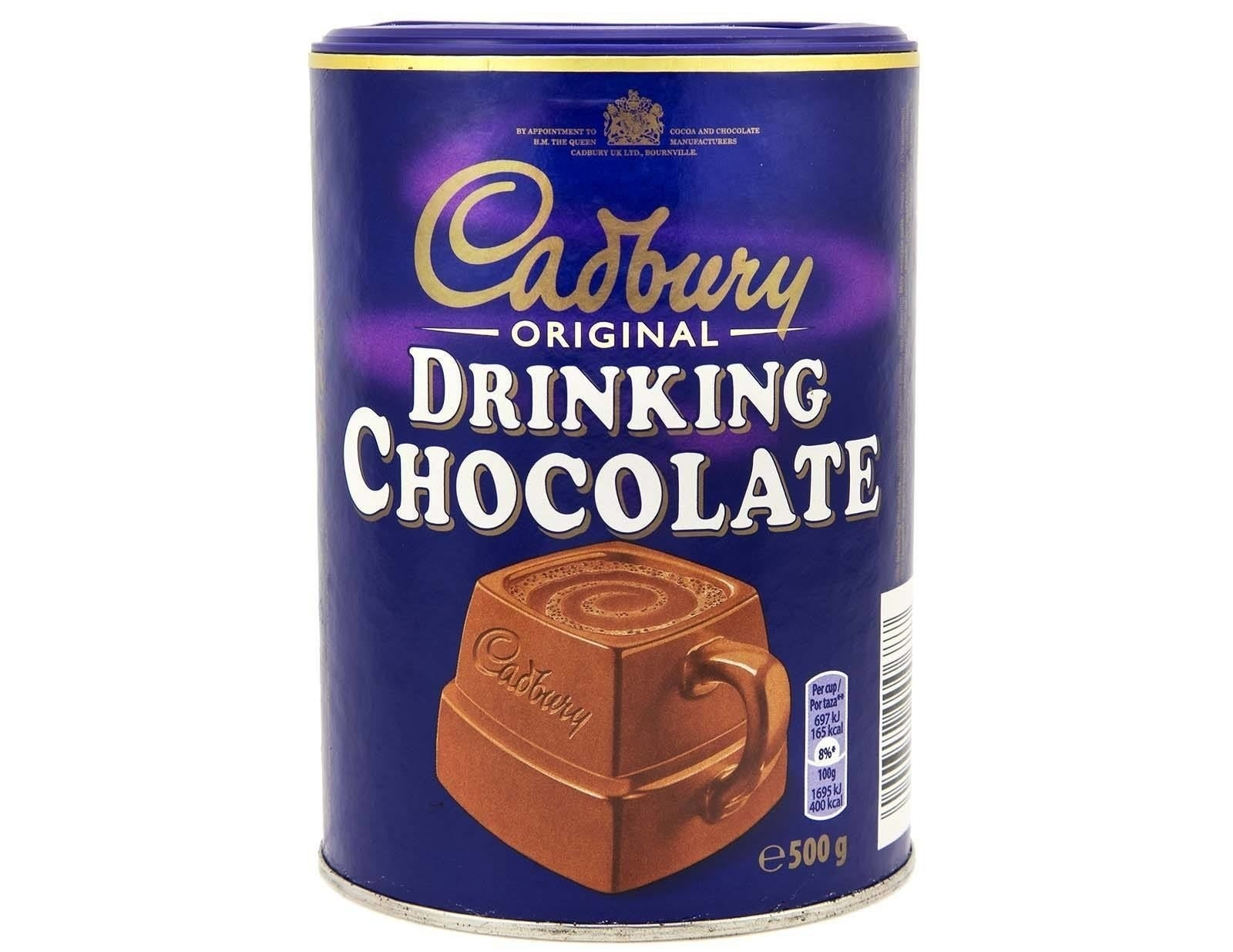 The canister of drinking chocolate