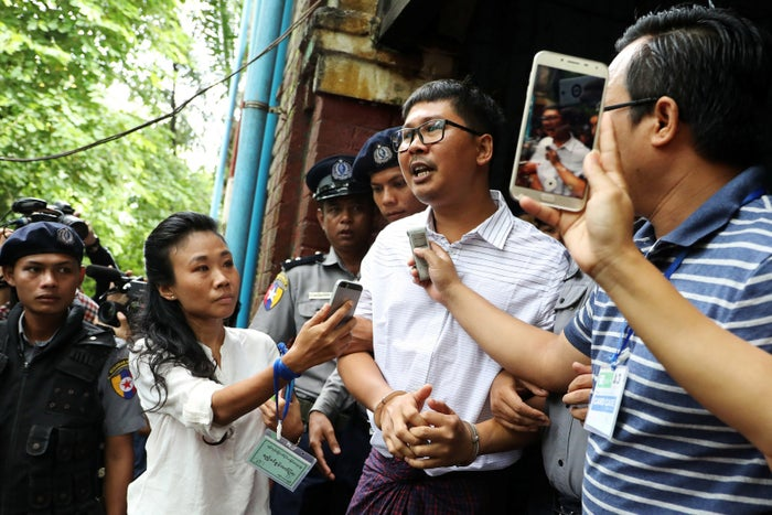 Detained Reuters journalist Wa Lone leaves the court in Yangon, Myanmar.