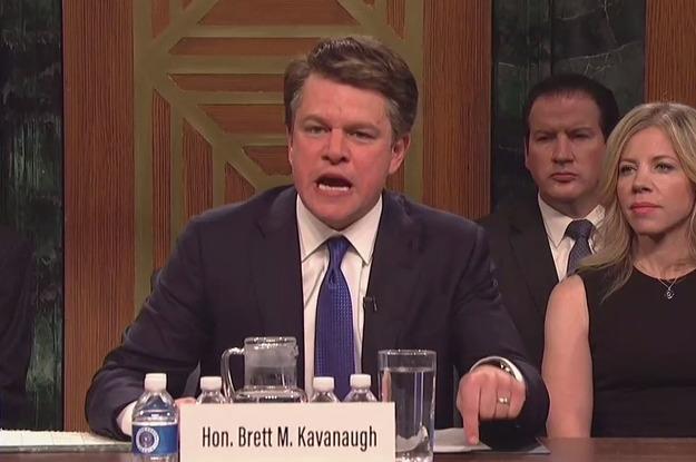 "Matt Damon And The ""SNL"" Cast Spoofed Brett Kavanaugh's Senate Hearing And It Was Everything"