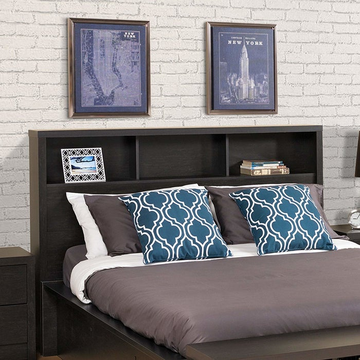 """Promising review: """"This is a great headboard. It is very sturdy and it looks really good. It took about an hour and half to put together. When I placed my alarm clock and sound machine on the shelves, the wires slip between the frame and that back. This allows the wires to be hidden, giving it a really clean and modern look."""" —CMWPrice: $118.99+ (available in two sizes)"""