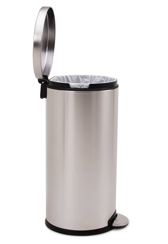 """Get this one from Amazon for $49.97.Promising review: """"I'm hooked on simplehuman trash cans. My first was the 13 gallon tall kitchen can. This is my second for the home office. I've now purchased one for the aviary and another small one for the bathroom. I've never had a trash can liner burst or tear and these cans are practically indestructible, and very well made."""" —Hannah Diamond"""