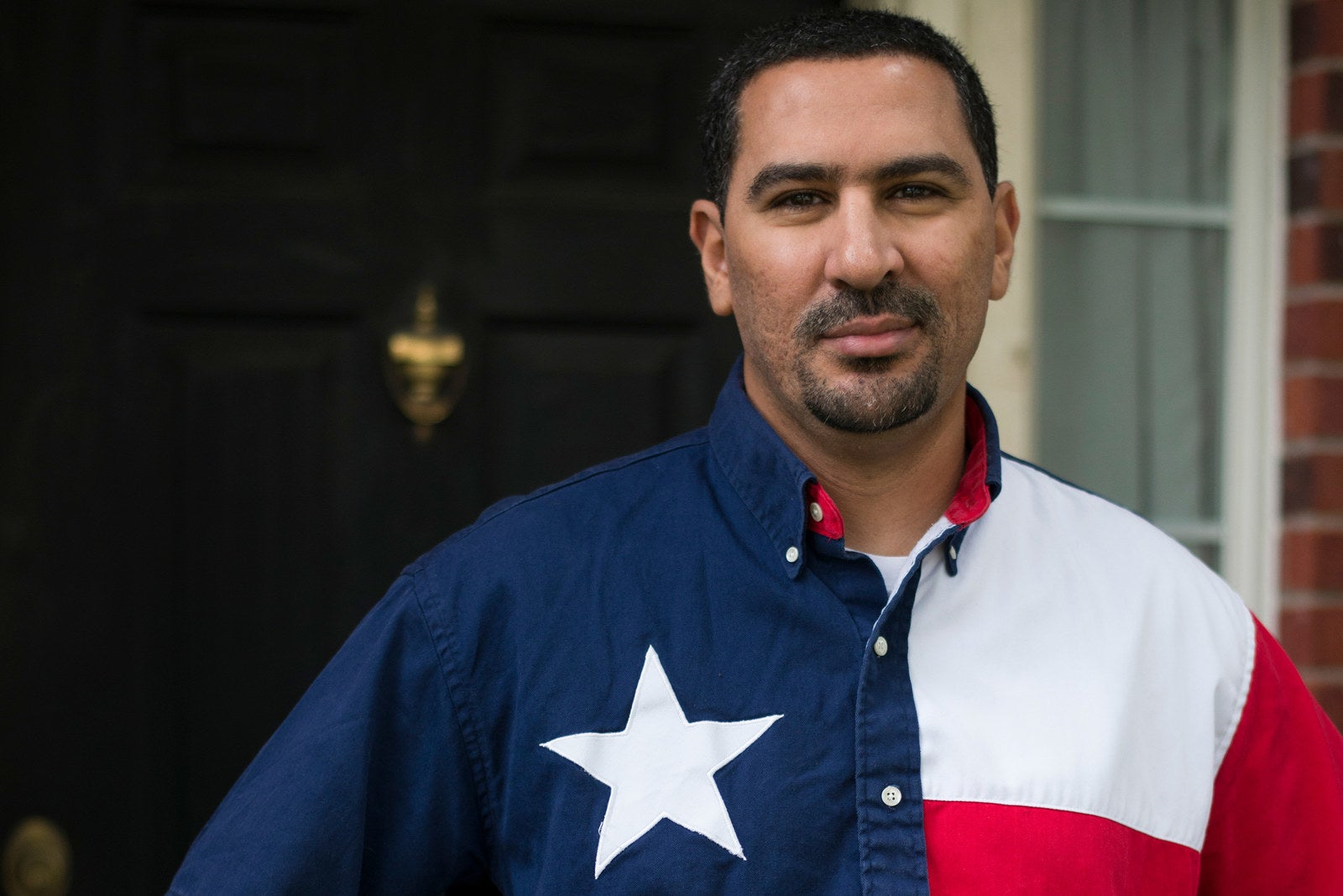 Mohamed Elibiary outside his home in Plano, Texas, in 2015.