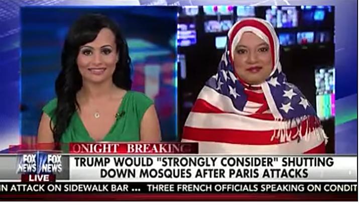 Saba Ahmed appears on Fox News with a star-spangled headscarf.