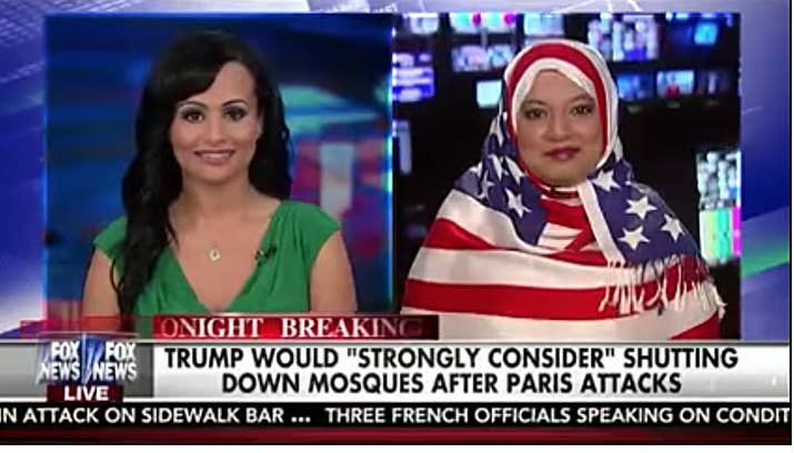 Saba Ahmed appears on Fox News with a star-spangled headscarf.