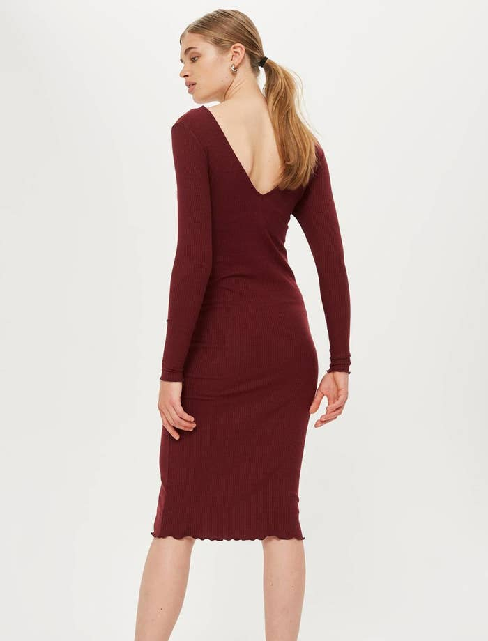 adbc9e0c46e1 A ribbed body-con midi dress so you'll be well-equipped when cool weather  hits. GOODBYE jackets that only ruin your outfit.