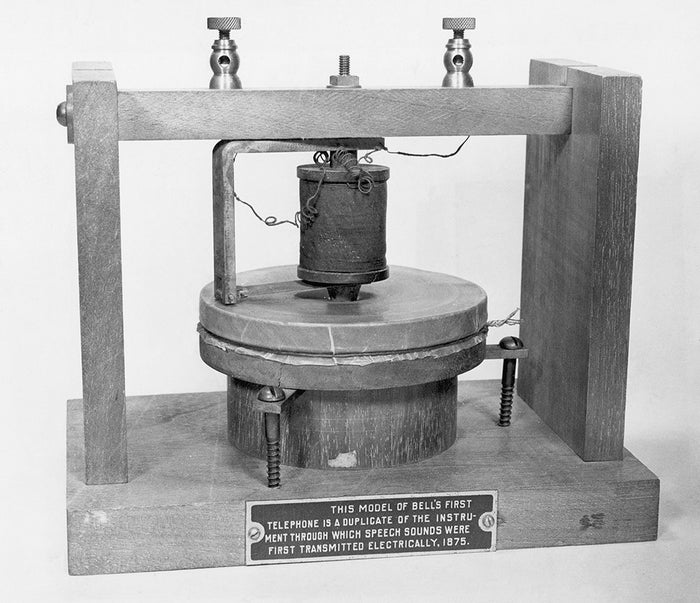 Alexander Graham Bell first displayed a working telephone at the Centennial Exhibition in 1876.