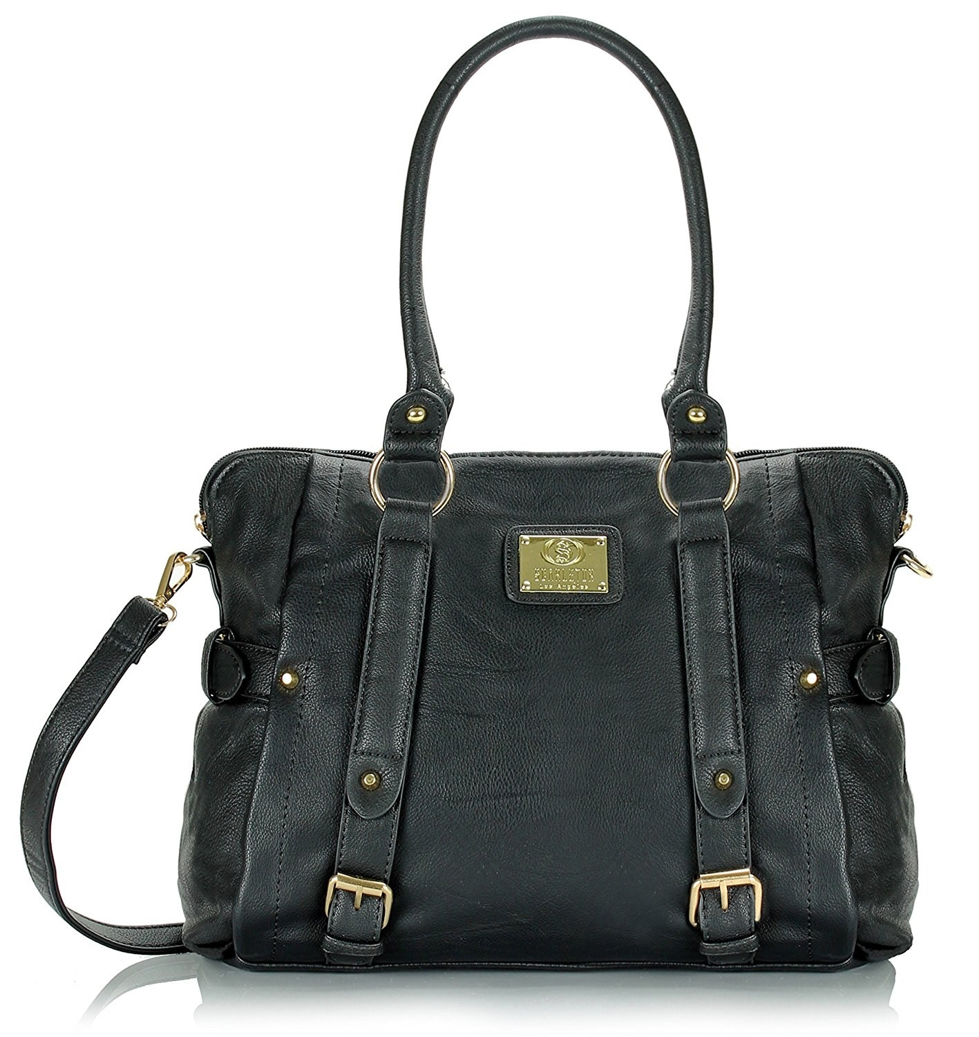 bd095e79a4 A spacious satchel with a removable crossbody strap and several little  pockets inside.