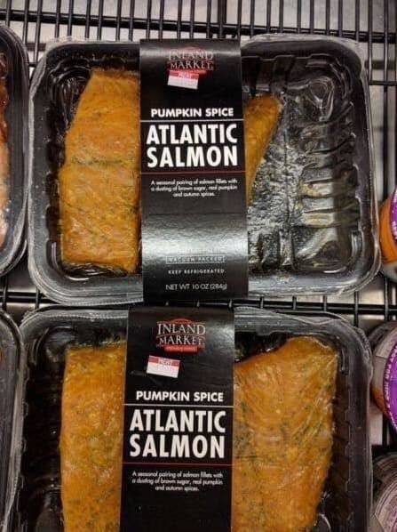 Farrah: Someone took this too far. Lara: What the fuckkkkkkk. No. Salmon and pumpkin do not go together. Farrah: You know what, I'm curious. So, please tell me in the comments if you've tried this...interesting combination.Pablo: Love yourselves, humanity.