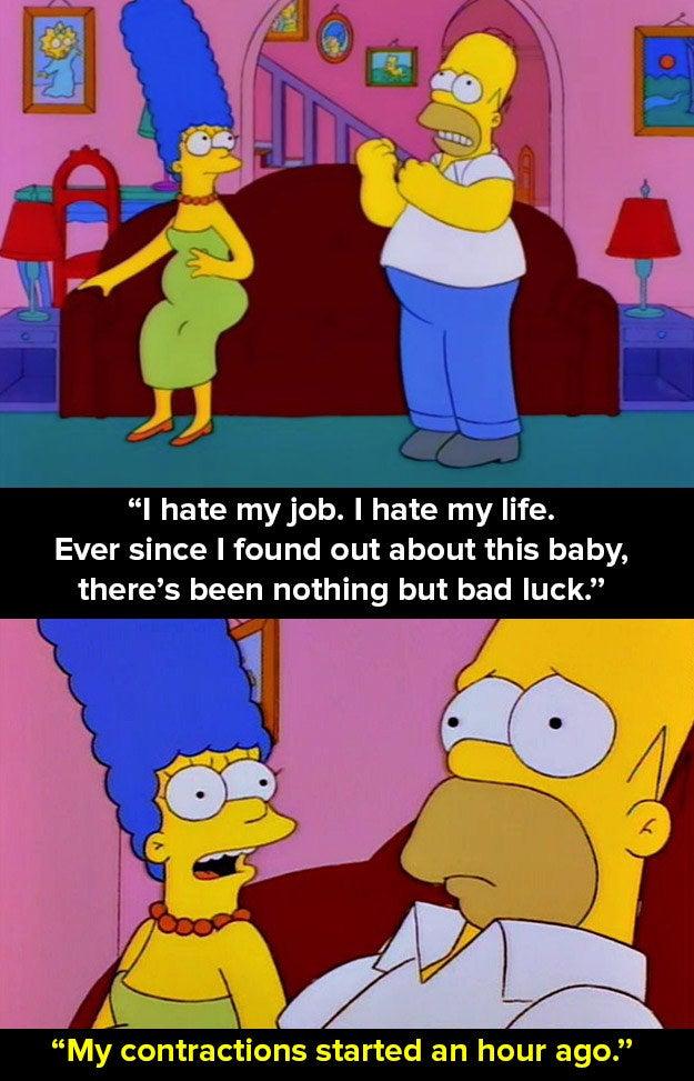 Entonces Homero cuenta la historia de su infelicidad cuando se enteró de que Marge estaba embarazada de ella.