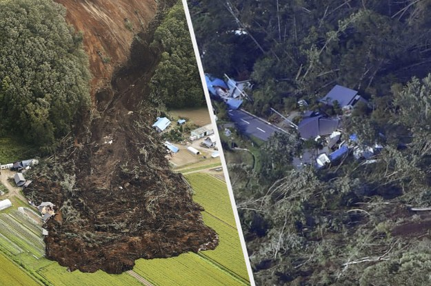 Dramatic Photos Show Landslides Wiping Out Homes After A Powerful Earthquake Rocked Japan